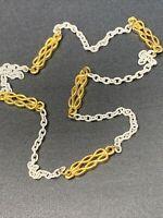 "Vintage Necklace Gold tone white decorative chain link  15"" Choker"
