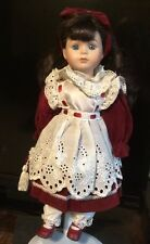 Porcelain Doll Red Velvet Dress White Eyelet Apron Satchel Ribbon