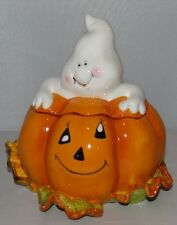Halloween Ghost Pumpkin Jack-O-Lantern Candy Dish Jar Ceramic