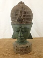 Vtg Antique Look Hand Carved Painted Wood 14 in Statuette Shakyamuni Buddha Head