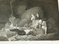 GRAVURE Eau FORTE XIX LE MATELOT NOYE ROMANTISME MORT MARINE LEFEVRE NYON 1821
