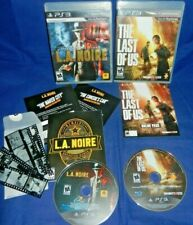 Lot of 2 PS3; L.A. Noire-w/ Manual,Film,Consul's Car,+, The Last Of Us, Discs LN