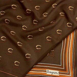 BAYRON BRIDLE BROWN POLKA DOT  LARGE silk Scarf   35/36 in #A89
