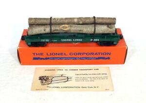 Postwar Lionel 6361 Timber Transport Car~Mint Unrun~w/Nice OB & Instructions