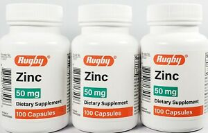 Rugby Zinc 50 mg (Zinc Sulfate 220mg) 100 Capsules -3 Pack -Exp Date 06-2022