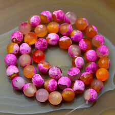8mm Faceted Multicolor Agate Round Loose Beads 15""