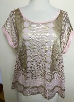 THURLEY Pale Pink Gold Metallic Foil Geometric Print Rolled Sleeve Boxy Top L