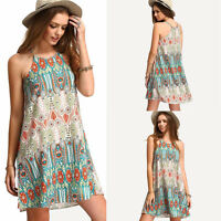 Summer Women Lady Boho Foral Print Casual Sleeveless Beach Dress Halter Sundress