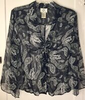 ICE Women's Sheer Silk Blouse Button Up With Tie Black Floral Large L