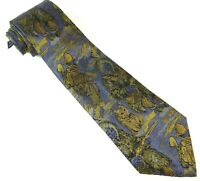 Arctic Hunters Silk Tie Woven Scenic Necktie Made in Italy Blue Gold