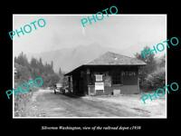 OLD LARGE HISTORIC PHOTO OF SILVERTON WASHINGTON, THE RAILROAD DEPOT c1930