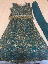 Used Indian Pakistani Lengha Choli Dress 3 Piece Teal Blue Gold Detail Size 48