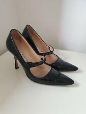 Manolo Blahnik Campari Mary Janes Black Patent Size 40 EU