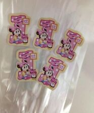 18 x Personalised Baby Minnie Mouse Thanku Labels Or Tags +18 Clear Lolly Bags