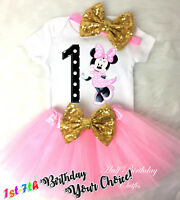 First 1st -7th Birthday Girl Tutu Outfit Light Pink Minnie Mouse Gold Headband