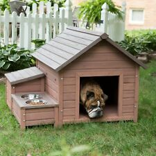Boomer & George A-Frame Dog House with Food Bowl Tray and Storage Cubby
