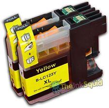 2 Yellow LC123 Ink Cartridges For Brother DCPJ132W DCPJ152W DCPJ552DW non-OEM