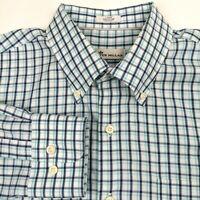 Peter Millar Blue Plaid Button Down Long Sleeve Shirt Mens L Casual Dress Cotton