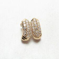 Estate 14K Yellow Gold 32 Round Brilliant Cut Diamond Drop Earrings 1.25 Cts