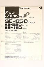 Pioneer SE-650 SE-550 se-450 Stéréo Casque écouteurs ORIGINAL MANUEL DE SERVICE