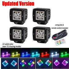 """4x 3"""" CREE LED Work Light Bar Cube Pods with RGB Halo Multicolor 72 Chasing Kits"""