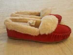 NEW WOMEN'S 7 8 11 J CREW BRIGHT RED SUEDE LODGE MOCCASINS SLIPPERS SLIP ON SHOE