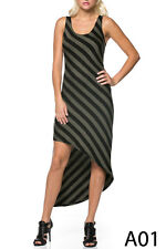 NWT Azules Black and Green Striped Maxi Tank Asymetrical Hem Dress Sz Med