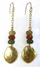 Yellow Gold 24K Plated Drop Hammered Teardrop Dangle Earrings Crystals Stones