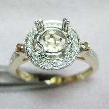 6.5mm Round Cut 14kt 585 Yellow & White Gold Natural Diamond Semi Mount Ring