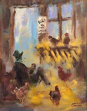 """Nuevo Original Leon Goodman """"vida en el pollo Run"""" Country Life pintura al óleo"""