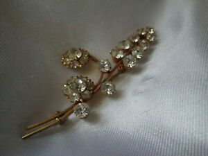 Vintage Sparkly Claw Set Clear Glass Flower Gold Tone Rivet Back Brooch Pin