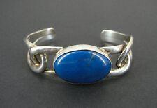 Blue Lapis Oval Stone Sterling 925 Silver Loops Knot Look Cuff Bracelet