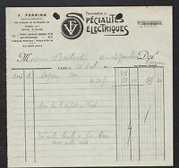 """PARIS (XII°) USINE DE SPECIALITES ELECTRIQUES """"V. FERSING Constructeur"""" en 1930"""