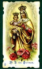 santino antico B.Vergine del CARMELO cromo IMAGE PIEUSE - HOLY CARD santini