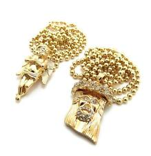 Mini Micro Jesus Angel Piece Pendant Lab Made Necklace Chain 14k Gold Finish