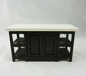 Dollhouse Miniature Black Center Island with White Top, T5828