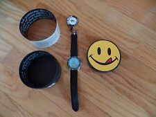 JOE BOXER NHL SLAP SHOT ice hockey rink TIMEX wrist watch/orig.SMILEY face box