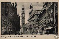 18855/ Foto AK, Augsburg, untere Maximilianstraße mit Rathaus u. Perlach