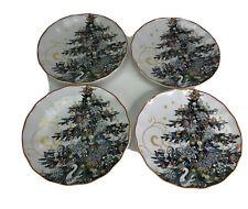Williams Sonoma Twas the Night Before Christmas Trees Salad Plates NEW Set of 4