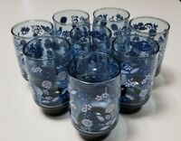 VINTAGE LIBBEY BLUE TUMBLERS WHITE FLOWERS WEIGHTED BOTTOM STACKABLE DRINKING