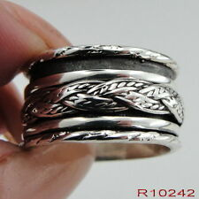 Women New  925 Sterling Silver Swivel Wide Band braid Ring size 7, 8, 9 (R10242)