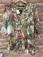 NWT ETC by Lazy Daisy BOHO Peasant Top Size XL Multi Color Cotton 3/4 Sleeve
