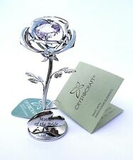 """Mother of the Bride"" GIFT -8cms (3"") SILVER STYLE PINK CRYSTAL ROSE in GIFT BOX"