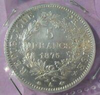 5 francs hercule 1875 A : SUP : pièce de monnaie Française ARGENT N5