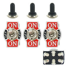 3 X Momentary 20A 125V DPDT 6P On/Off/On Rocker Toggle Switch Waterproof Cap WYS