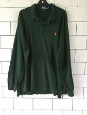 MENS VINTAGE RETRO RALPH LAUREN LONG SLEEVE GREEN POLO TOP T SHIRT XL #1.2