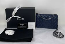 CHANEL Bag Lambskin Quilted Diamond CC Wallet On Chain WOC Navy Blue Classic ❤️