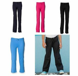 Kids Dance Pant Girls Cotton Jersey Bottoms Navy Pink Black Blue SM61