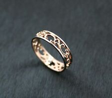 Russian solid rose gold 585 14ct beauty filigree fine ring