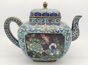 Antique Japanese Meiji Period Cloisonne Enamel Teapot